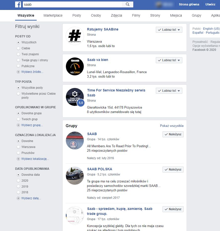 Polskie grupy o SAABie na Facebooku